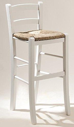 Sgabello Sedia In Legno Bianco Con Seduta In Paglia Alto 67 Cm Pub Bar Cucina Nuovo Già Montato