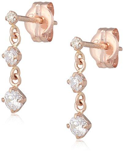 [VAヴァンドーム青山] VA VENDOME AOYAMA K10 ピンクゴールド ダイヤモンド キュービックジルコニア 3Stone ピアス GJAA0115 DI
