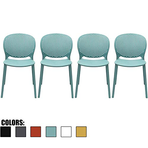 2xhome Set of 4 Blue Contemporary Modern Stackable Assembled Plastic Chair Molded with Back Armless Side Matte for Dining Room Living Designer Outdoor Garden Patio Balcony Work Desk Kitchen