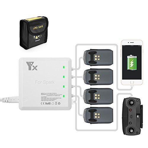 Powerextra 5 in 1 Batterie Ladegerät Netzteil für DJI Spark Akkus und Fernbedienung