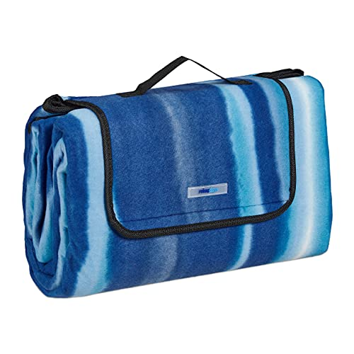 Relaxdays XXL Picknickdecke, 200x200 cm, Fleece Stranddecke, gestreift, wärmeisoliert, wasserdicht, alubeschichtet, blau