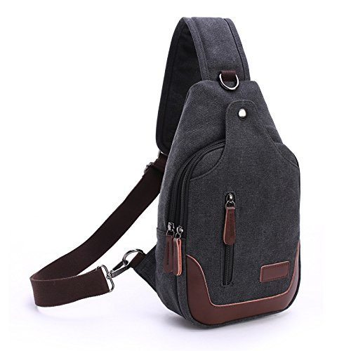 Veballensty Sling Backpack for Man with USB Port Crossbody Backpack for Travel Hiking Cycling Camping