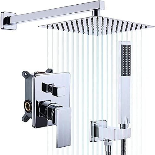 Grifo De Ducha Empotrado, Baño Pared Mezclador Ducha Alta Calidad Latón Grifo de baño, Dos Funciones Lluvia Ducha, Sistema de ducha Con Ducha de Mano Y Manguera de ducha Kit,Cromo