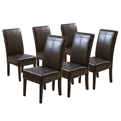Christopher Knight Home Pertica T-Stitch Leather Dining Chairs, 6-pcs Set, Chocolate Brown
