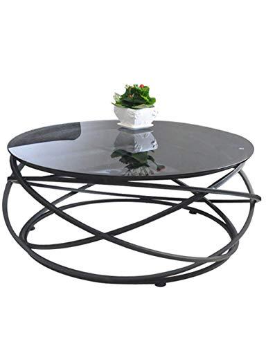 Table Basse Moderne en Verre trempé Moderne créative Ronde Table en Fer forgé personnalité Art Petit canapé de Salon de Mode, Noir (60 × 60 × 45cm)