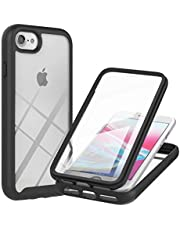 Mylne Full Body Rugged Case for iPhone SE 2020,360°Double Sides 2 in 1 Cover with Built-in Screen Protector Shockproof Clear Back Bumper,Black