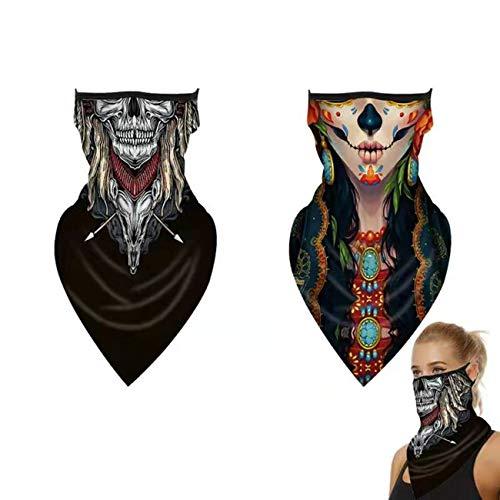 Houspoty Juego de 2 máscaras faciales sin Costuras - Bandana multifunción - Transpirable, redecillas - Protección bucal - Diadema a Prueba de Viento - para Deportes al Aire Libre