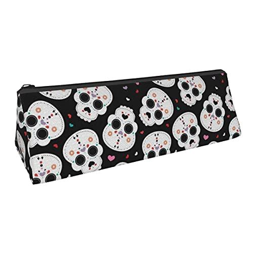 Bolsa de almacenamiento para bolígrafos con forma de calaveras mexicanas de azúcar para Halloween, pequeña capacidad, para niños, niñas, universidad, escuela media, oficina, alicates de papelería