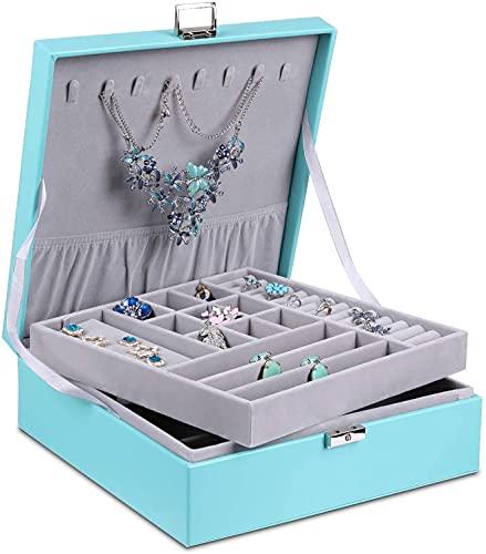 Recet Joyero para mujer, grande, 2 capas, desmontable, con cerradura, para pendientes, anillos, collares (turquesa)