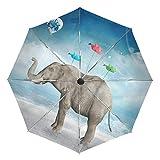 Ombrello da viaggio piccolo antivento da esterno pioggia sole UV auto compatto 3 pieghe ombrello copertura - elefante palloncino origami uccello