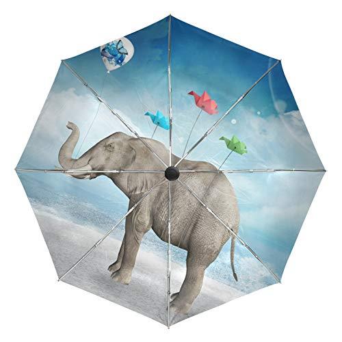 Paraguas de Viaje pequeño a Prueba de Viento al Aire Libre Lluvia Sol UV Auto Compacto 3 Pliegues Cubierta de Paraguas - Elefante Globo Origami pájaro