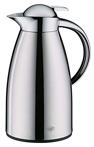 alfi Signo, Thermoskanne Metall poliert 1L, mit alfiDur Glaseinsatz, 1422.000.100, Isolierkanne hält 12 Stunden heiß, ideal als Kaffeekanne oder Teekanne, Kanne für 8 Tassen