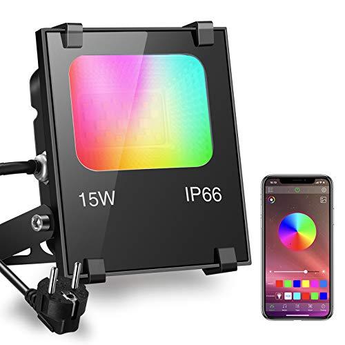 iLC Faretto LED RGB 15W Esterno Proiettore Faro - RGBW Inteligente controllato dal telefono APP - 16 milioni 20 Modalità - Impermeabile IP66 per Esterno e Interno