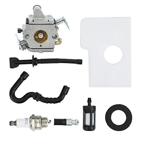 Walfront Carburador, kit de juntas de filtro de aire, accesorio para motosierra, con superficie anodizada ligera, filtro de algodón, bujía chispeante, junta, para Stihl MS170 MS180 017 018