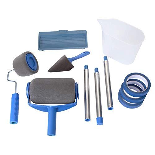 ouleau à peinture sans couture Paint Roller [version actualisée] avec 3 ruban adhésif pour la peinture de murs, portes, plafonds, toits ou autres grandes surfaces (7 pièces) (blue 2)