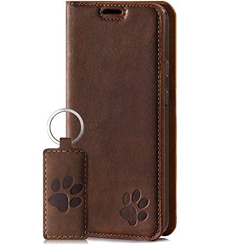 SURAZO Smart Magnet Handyhülle für Apple iPhone 12 und 12 Pro – Premium Echtleder Hülle mit Pfote Motiv - Klapphülle mit [Kartenfach, RFID Schutz] – Schutzhülle Wallet case Handmade in EU (Nussbraun)