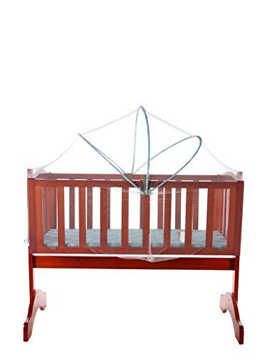 Mee Mee Baby Wooden Cot (Cradle, Swing & Mosquito Net - Teak Brown)