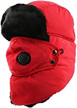 Trooper Trapper Hat w/Face Mask Windproof Water Resistant Winter Russian Hat RED
