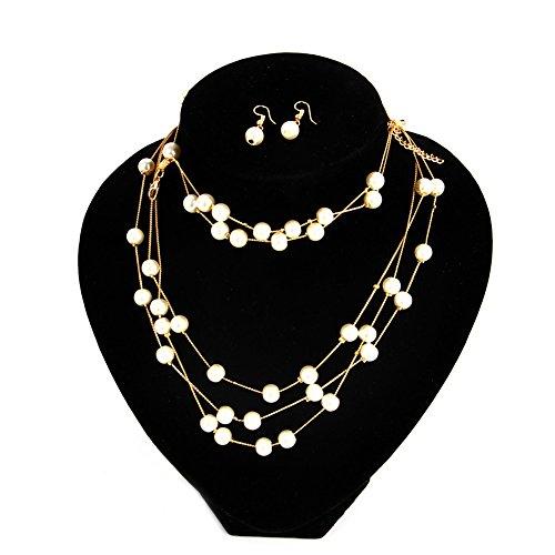 Jingmeizi - Conjunto de collar con colgante de perlas para mujer, collar y collar con babero