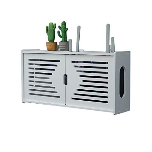 Väggmonterat ställ för trådlös router, WiFi-förvaringsskåp, väggdekoration för vardagsrum, TV, förgreningsdosor och STB, avskärmande låda, fristående box, hylla - ingen borrning