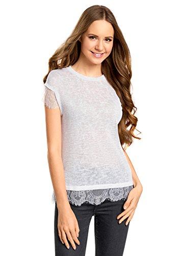 oodji Ultra Mujer Camiseta con Cuello Redondo y Acabado de Encaje, Blanco, ES 40 / M