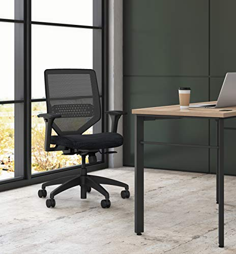 HON HONSVM1ALC10TK Solve Mid Task Chair with Mesh Back and Adjustable Lumbar Support, in Ink (HSLVTMMKD), Black