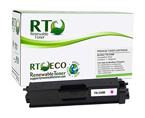 Renewable Toner Compatible High Yield Toner Cartridge Replacement for Brother TN-336M TN-336 HL and MFC Multifunction HL-L8250 HL-L9200 HL-L9300 MFC-L8600 MFC-L8850 MFC-L9550 (Magenta)