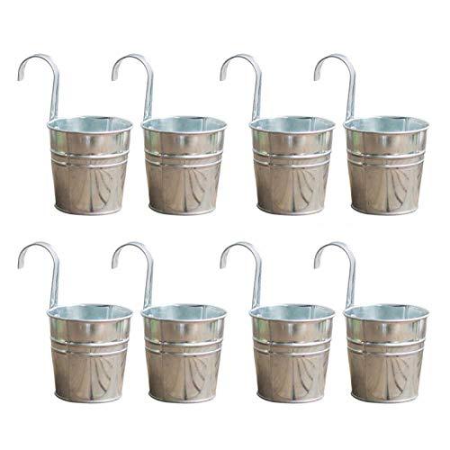 AUTUUCKEE 8 macetas colgantes para flores, macetas de metal de hierro para barandilla, valla, balcón, jardín, decoración del hogar, soportes de flores con ganchos desmontables, plata, 4 pulgadas