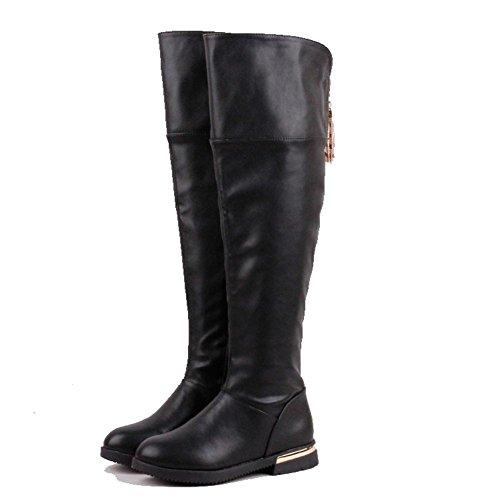 Niña Invierno Zapatos Princesa Bailando Moda Encima los Rodilla Cuero Botas largas (EU 35, Negro)