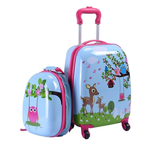 Maxmass 2PCS Kids Luggage Set, Children Backpack and Suitcase for Boys Girls Travel School 12'+16'