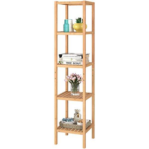 Homfa Scaffale da Bagno, Cucina, scarpiera, in bambù con 5 Ripiani, 33 x 33 x146.2 cm, Ideale per Bagno, Soggiorno, corridoio, Cucina, Balcone