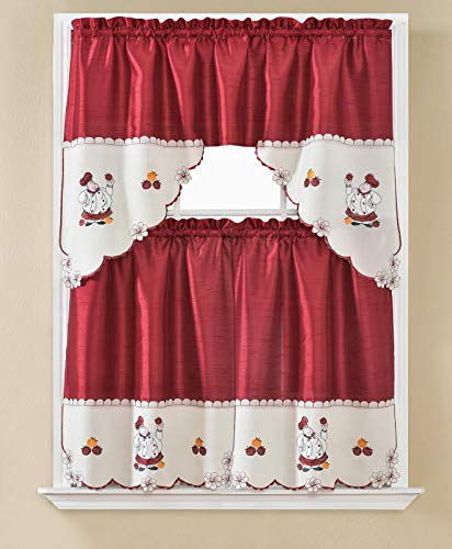 DiamondHome 3 Piece Red with Embroidery Chef Kitchen Café Curtain Window Treatment Tier and Valance Set (Red/Big Chef)