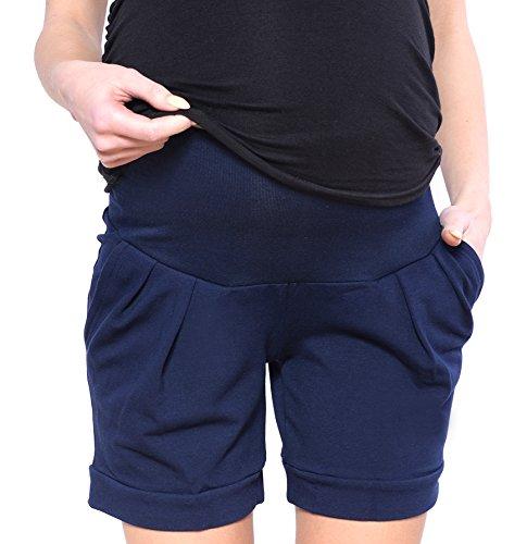 Mija Kurze Umstandsshorts/Umstandshose mit Bauchband für Sommer 1047 (EU42 / XL, Marine Blau)