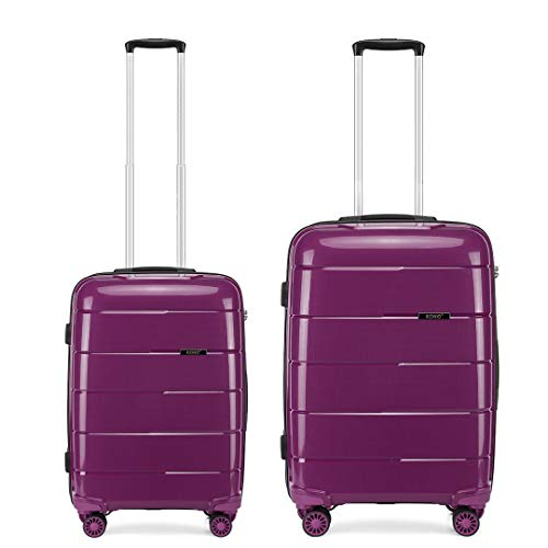 Kono Set of 2 (38L, 66L) Lightweight Durable PP Material Suitcase 20' Carry-on Hand Luggage and 24' Medium Suitcase with TSA Lock and YKK Zipper (Purple)