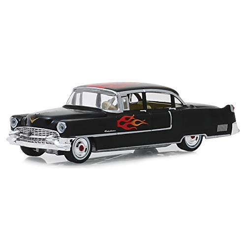 GREENLIGHT 1:64 1955 Cadillac Fleetwood Series 60 Special Black W/Flames 30105