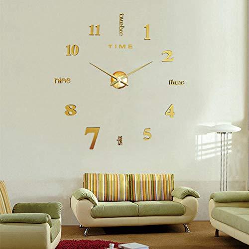 Spiegel Wandaufkleber Wanduhr Muster 3D Stereo Acryl Spiegel Wandkunst abnehmbare Raum Party Hochzeit Home Decors Kühlschrank Wallpaper-Golden