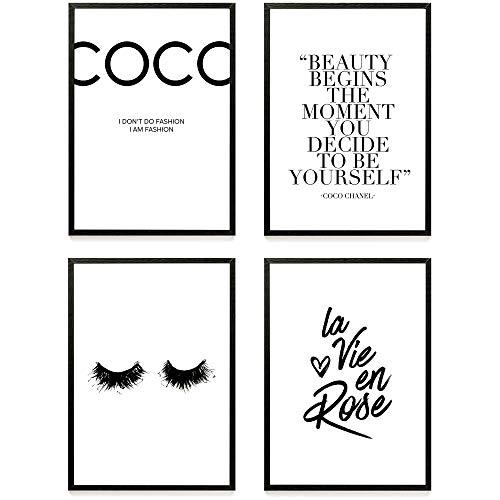 Heimlich ® Premium Poster Set | Stilvolles Set mit passenden Bilder in Schwarz-Weiß | 4 Stück in DIN A3 (30x42cm) | ohne Bilderrahmen » Coco «