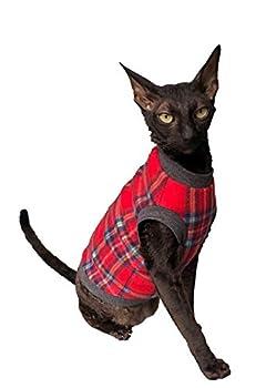 Kotomoda Pull pour chat à carreaux rouge gris sans poils Sphynx