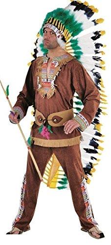 M213236-S-A - Disfraz de indio para hombre, color marrn, talla S