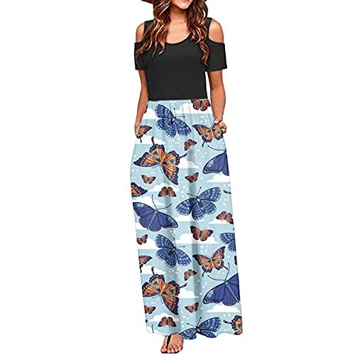 URIBAKY - Vestido de verano con hombros descubiertos, vestido largo con estampado floral, vestido de bolsillo, vestido de noche, vestido de fiesta, vestido grande, talla grande azul L