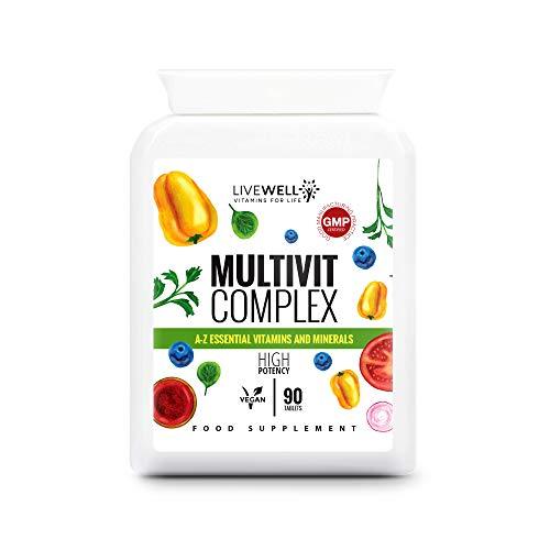 Multivitamins & Minerals Complex | 30 Essential Active Vitamins & Minerals | 90 Vegan Tablets for Men & Women | Made in The UK