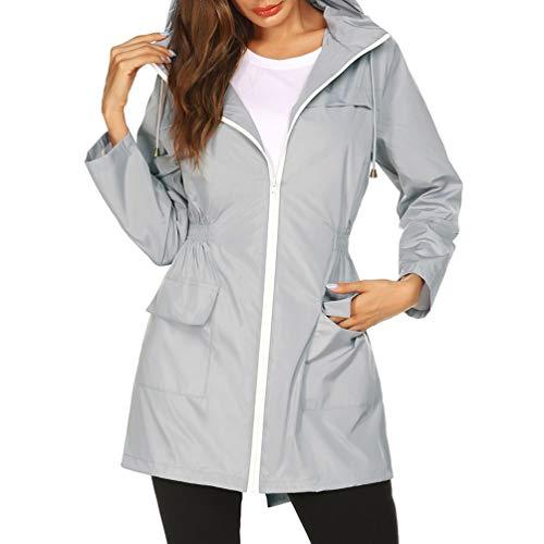 IMIKEYA dames regenjas met capuchon, licht, winddicht, waterdicht, voor reizen, kamperen, wandelen, bergbeklimmen, groen maat L, L, Grijs