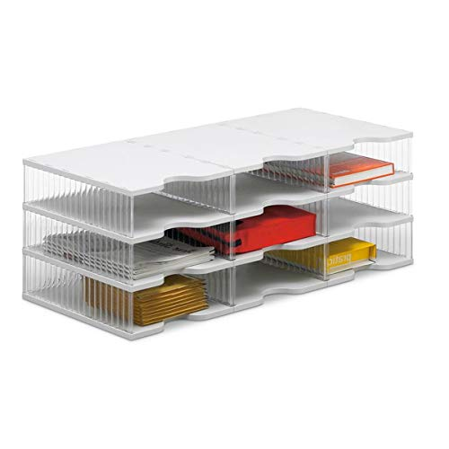 Ultimate Office TierDrop Desktop Organizer Document, Forms, Mail, and Classroom Sorter. 9 Extra Large, Crystal Clear Compartments with Optional Add-On Tiers for Easy Expansion!
