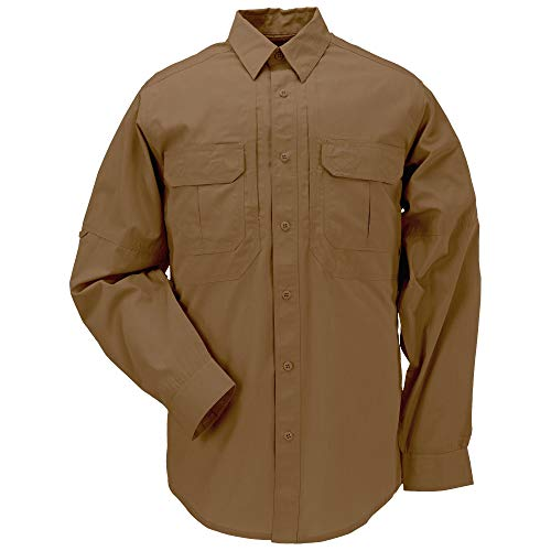 5.11 Tactical Men's Taclite Professional Long-Sleeve Button-Up Work Shirt, Teflon Treated, Style 72175, Battle Brown, X-Large