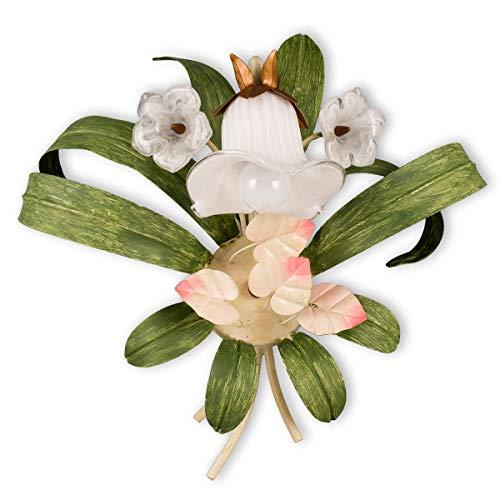 Helios Leuchten 303594 Florentiner Wandleuchte Wandlampe | Blüten chabby chic | Florale Lampe Leuchte Schlafzimmer Wohnzimmer | Kronleuchter Landhausstil einflammig1