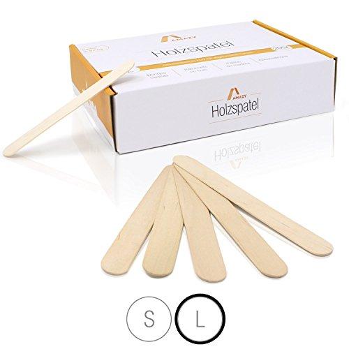 Amazy Holzspatel (200 Stück) – Naturbelassene Holzstäbchen ideal für EIS am Stiel, Waxing und Basteln (Groß | 150 x 18 mm)