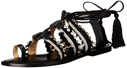 Schutz Women's Patricia Gladiator Sandal, Black/White, 7 M US