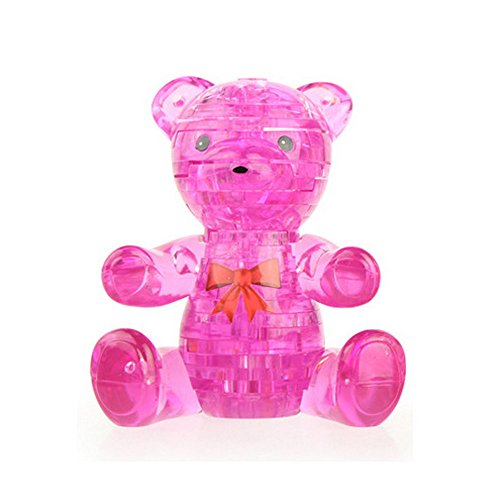 callm Educational Toy,41 Piece 3D Crystal Puzzle Cute Bear Model DIY Gadget Blocks Building Toy Decoration Gift (Hot Pink)