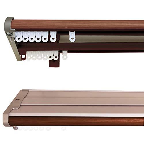 [カーテンくれない] 伸縮式 カーテンレール「カバートップ リターン付き伸縮レール」 1.2m~2.0m 色:ブラウン 静音ランナー仕様 ドライバー1本でお取り付け可能