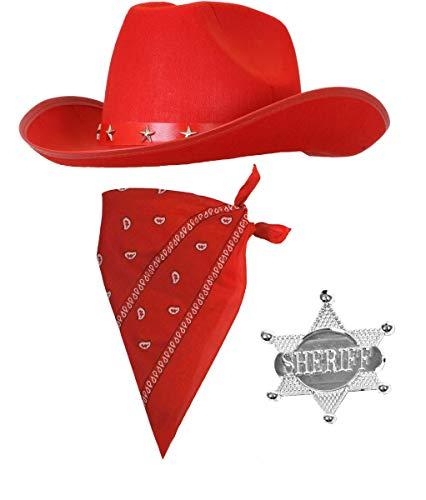 Accessoires de déguisement de cowboy pour enfant – 3 pièces – Chapeau rouge, badge et bandana